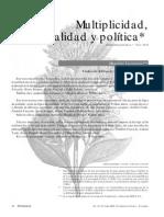 Multiplicidad Totalidad y Politica