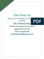 Internet as an Engine for Economic Growth- MD. Nahidul Islam