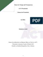 ACT Katiba Kama Ilivyopitishwa Na Mkutano Mkuu 29Machi15