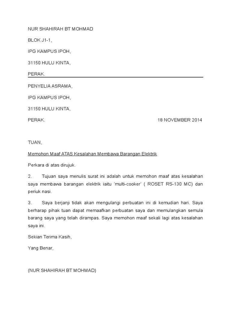 Surat Permohonan Maaf Atas Kesalahan