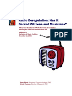 Radio Deregulation -dd Has It Served Citizens and Musicians - Fmcradiostudy