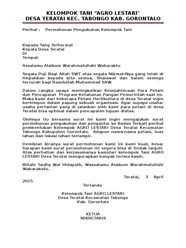 Contoh Surat Pembentukan Kelompok Tani Docx