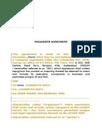 Organizer Agreement