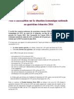 HCP Note d'Information Sur La Situation Économique Du Maroc Au Quatrième Trimestre 2014