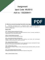 Assignment Mu 0011