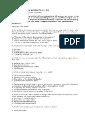 100 Items OB Nursing Questions Answer Key | Pelvis | Childbirth