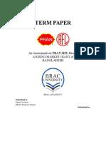 13717552966 BUS 101 Term Paper on PRAN-RFL Group