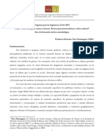 Programa Seminario 2015 de Nora Domínguez   Área de formación teórico-metodológica