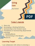 summarizing information - field community school