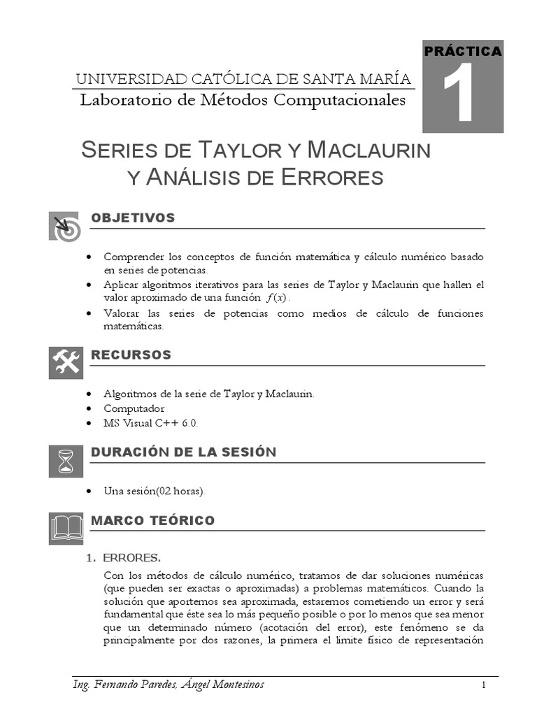 Sesion 01 Series De Taylor Y Maclaurin Y Analisis De Errores Series Matematicas Medicion