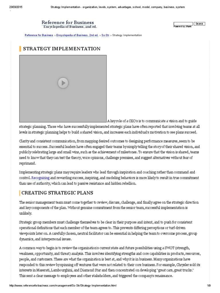 Strategy Implementation - Organization, Levels, System