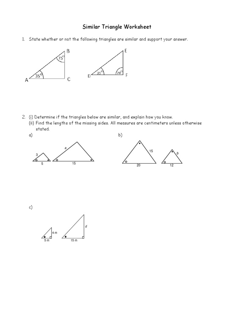 Worksheets Similar Triangle Worksheet similar triangles worksheet