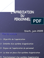 Appréciation du personnel