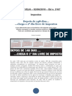 REVISTA Veja Matéria Sobre Impostos No Brasil Ed 2167 de 02 de Junho de 2010