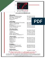 CLUB LIFE Class Schedule