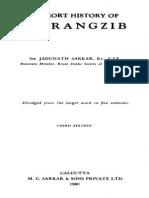 A Short History of Aurangzib by Jadunath Sarkar