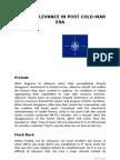 Nato's Relevance in Post Cold War Era