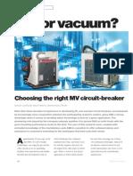 Consideraciones de Breakers SF6 vs Vacio