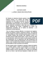 Mutaciones Genéticas - ensayo Juan David Londoño
