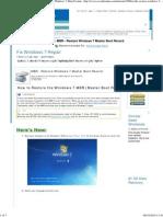 MBR - Restore Windows 7 Master Boot Record - Windows 7 Help Forums