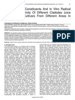 Phytochemical Constituents and in Vitro Radical Scavenging Activity of Different Cladodes Juice of Cactacea Cultivars From Different Areas in Morocco