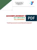 ACCOMPLISHMENT REPORT of the BU CYC, 2nd Semester - AY 2014-2015
