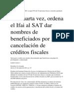 Ifai Al SAT Dar Nombres de Beneficiados Por Cancelación de Créditos Fiscales