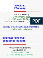 Industrial Training March 2015 Batch Briefing II on 27th Feb 2015
