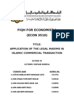 Application of The Legal Maxims in Islamic Commercial Transactions