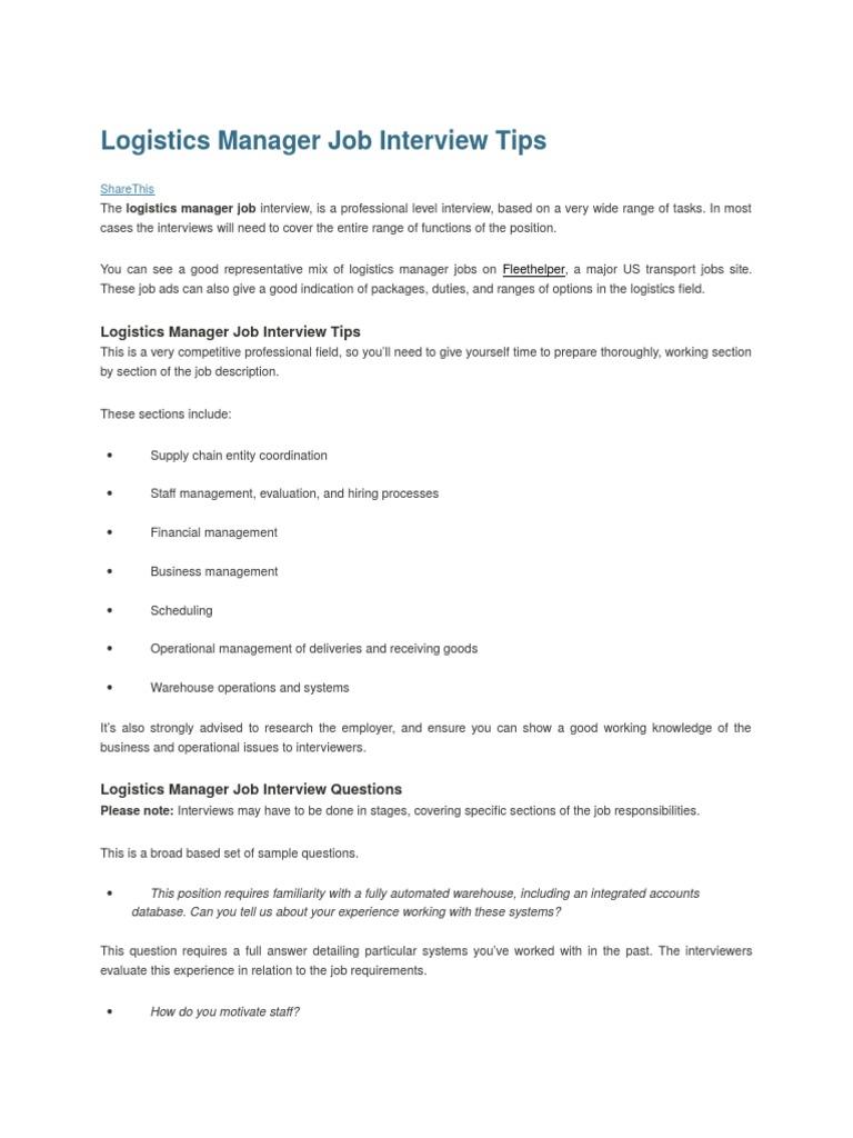 Logistics Manager Job Interview Tips.docx | Job Interview | Logistics