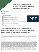 Analisis Faktor-faktor Yang Mempengaruhi Penanaman Modal Asing Dan Peluang Investasi (Studi Kasus _ Kota Cimahi, Jawa Barat)