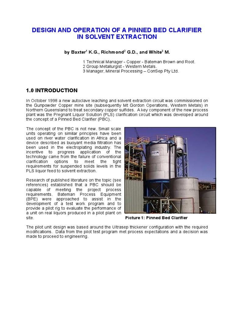 Design and Operation of a Pinned Bed Clarifier in Solvent Extraction