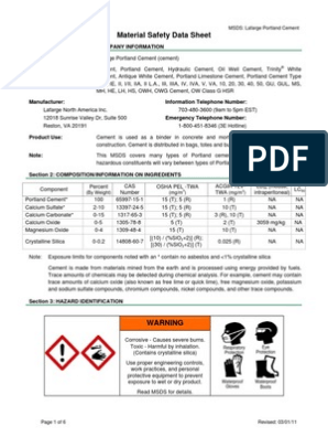 MSDS Portland Cement for HASP | Personal Protective Equipment