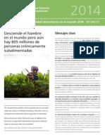 Organización de Las Naciones Unidas Para La Alimentación y La Agricultura2 (FAO) 2014