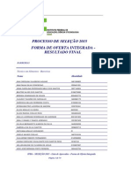 Lista de Aprovados - Integrado - Processo Seletivo 2015
