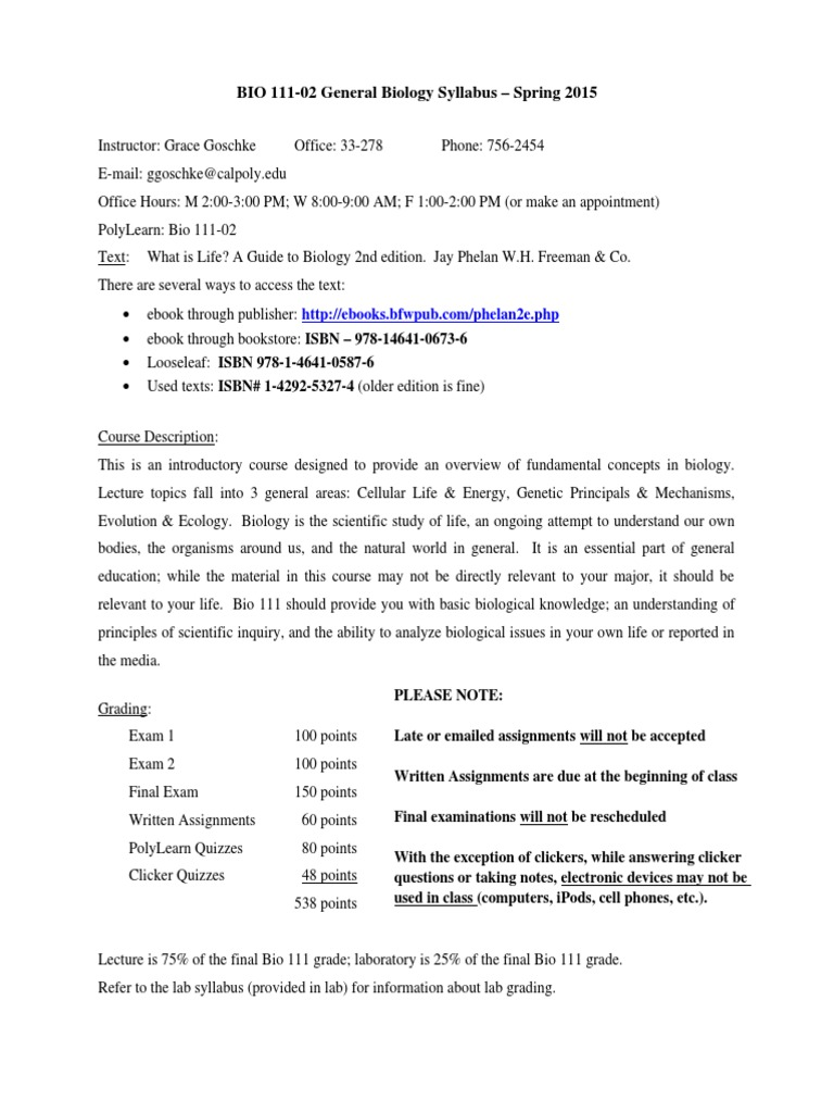 che 101 lecture syillabus spring 2014 Read this syllabus carefully and use it as a guide for this class 3 online class frequency and interaction it is critical that you login to blackboard on a regular and intentional basis.