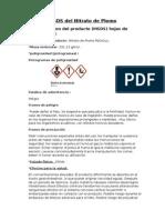 MSDS Del Nitrato de Plomo