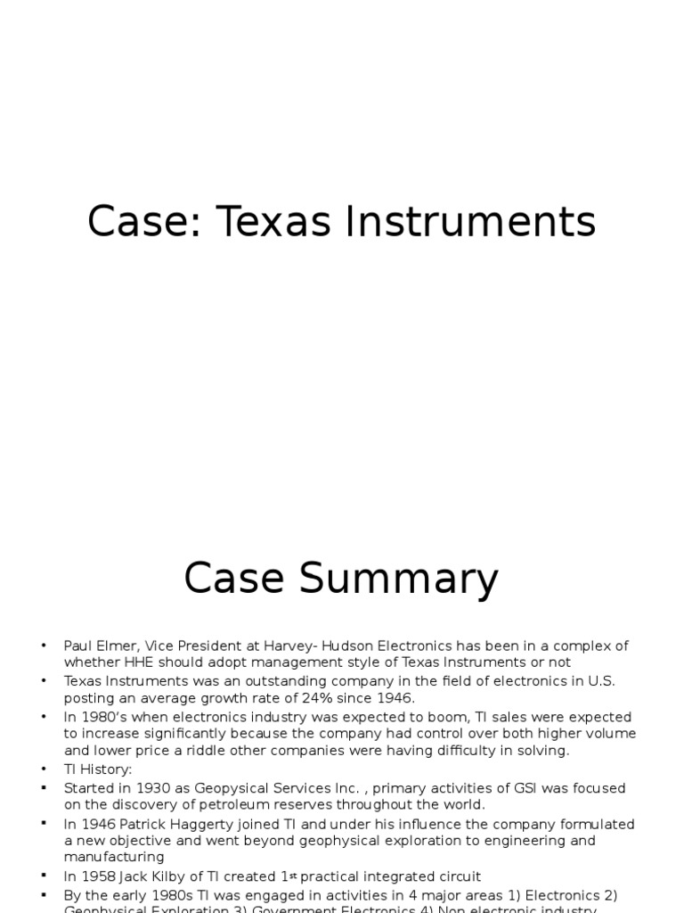Case Texas Instruments Economies Business The Integrated Circuit Is Invented By Jack Kilby In 1958