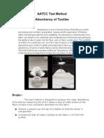 AATCC Test Method Absorbency of Textiles