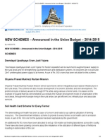 NEW SCHEMES – Announced in the Union Budget – 2014-2015 - InSIGHTS