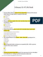 Current Affairs (February 01-07) Bit Bank