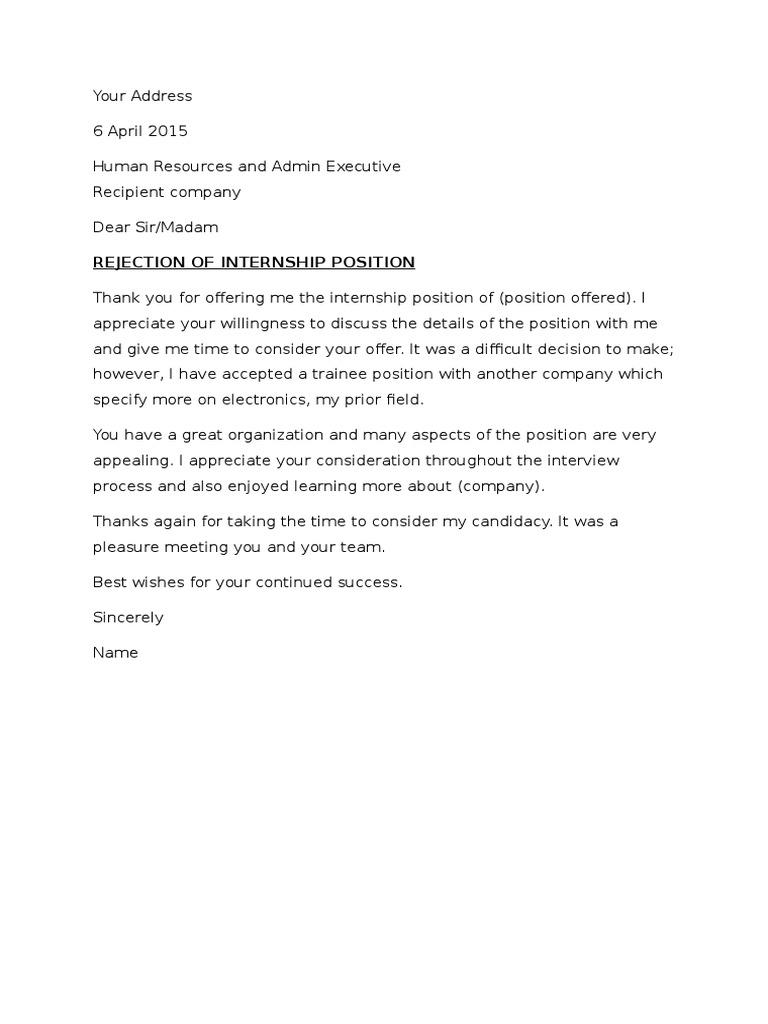 Rejection Letter For Job Offer from imgv2-2-f.scribdassets.com