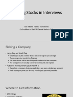 Pitching Stocks in Interviews