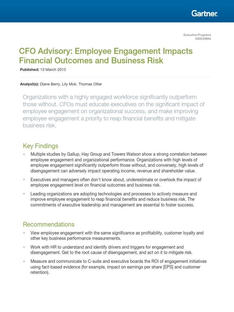 Study Overlooks Impact Of Executive >> 1 Berry Engagement And Financial Outcome Employment Employee