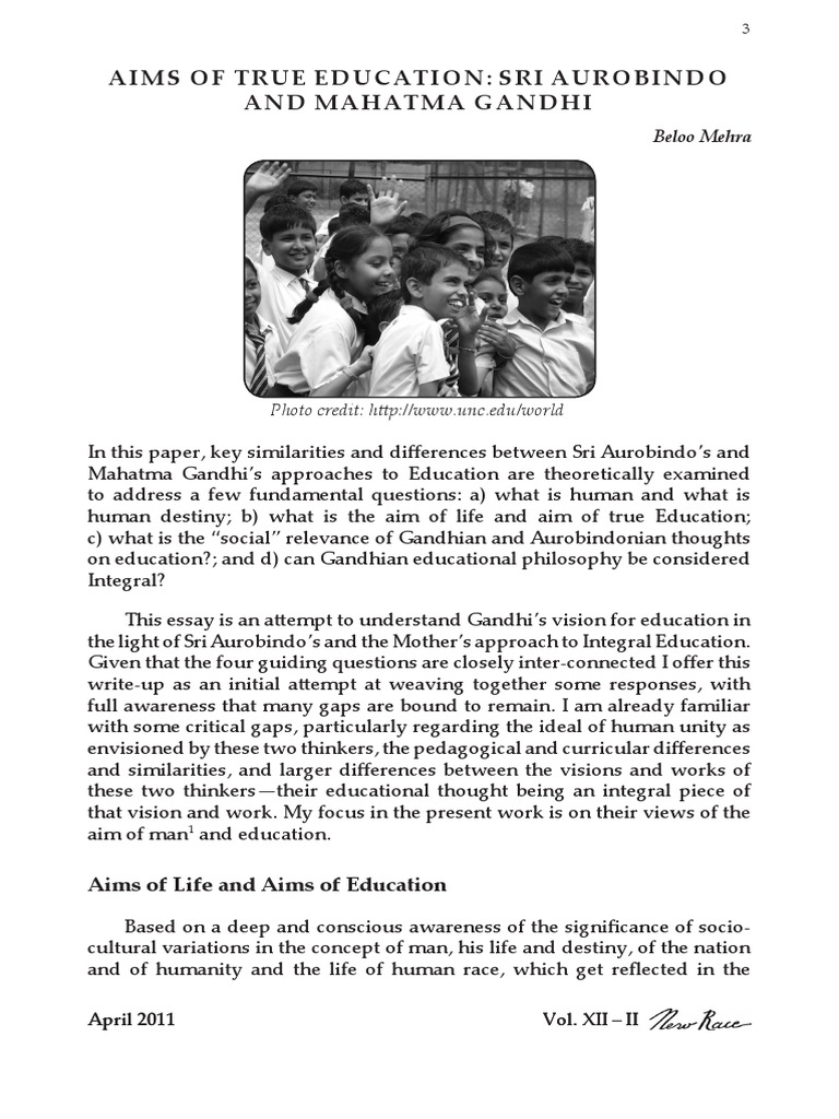 Aims Of True Education Sri Aurobindo And Mahatma Gandhi Religious