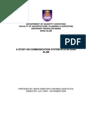 A Study On Communication System In Uitm Shah Alam By Mohd Sabri Bin A Rahman Telecommunication Organizational Structure