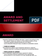 Award and Settlement