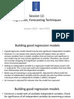 Lecture 12 Regression Contd