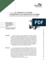 Plan de Govierno, Autinomia y Condicionamiento Universitario