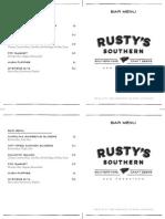 Rusty's Southern Bar Menu